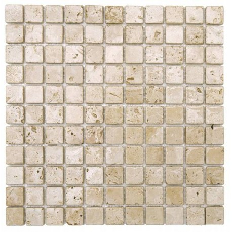 mosaïque travertin mix blanc marron - progibat