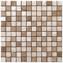 Mosaïque Travertin mix blanc marron